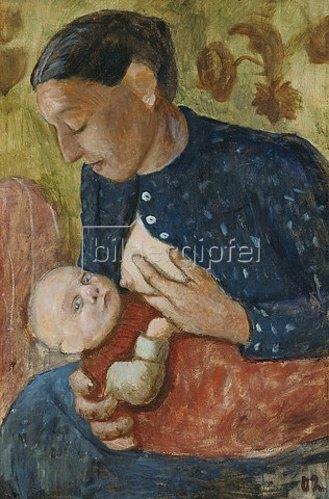 Paula Modersohn-Becker: Stillende Mutter (verso: Bauer mit Ziegen). 1902