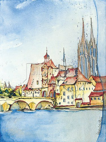 Annette Bartusch-Goger: Deutschland, Regensburg: Altstadt mit Brücke.