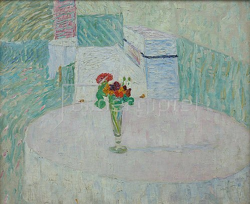 Walter Ophey: Schnapsglas mit bunten Blumen. 1910