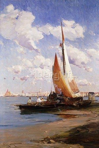 E. Aubrey Hunt: Fischerboote mit dem Riva degli Schiavoni, Venedig, im Hintergrund.