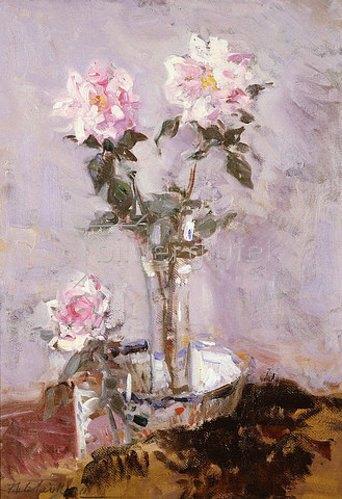 Francis Campbell Boileau Cadell: Rosen in einer Glasvase. 1911