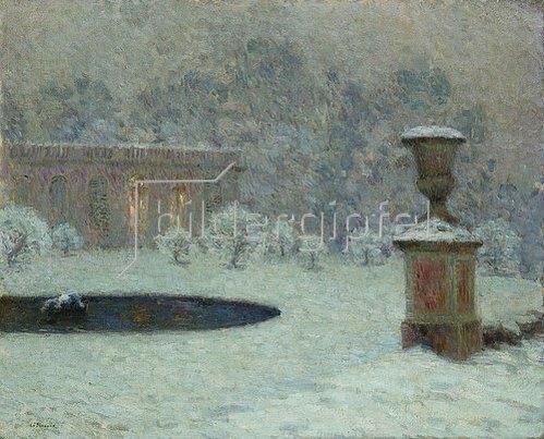 Henri Le Sidaner: Das Trianon im Park von Versailles bei Schnee. Um 1905