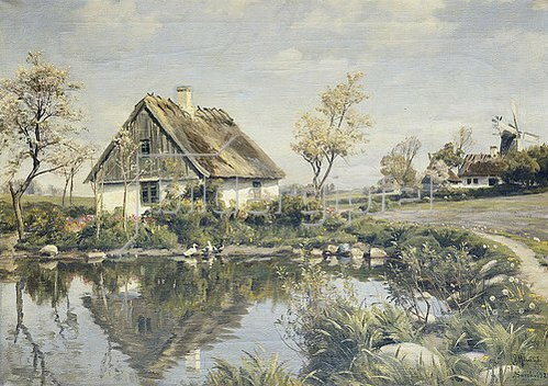 Peder Moensted: Ein Bauernhaus an einem Teich. 1925