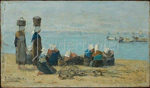 Eugène Boudin: Brest - Fischerinnen am Ufer (pecheuses sur le rivage). 1874