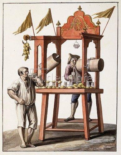 Saviero Xavier della Gatta: Verkaufsstand für eisgekühltes Wasser (Venditore d'acqua Gelata). 1803