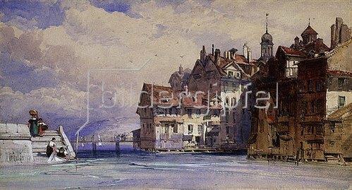 William Callow: Ansicht der Genfer Altstadt. 1856