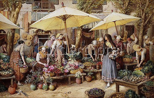 Myles Birket Foster: Der Blumenmarkt in Toulon.