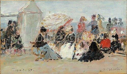 Eugène Boudin: Crinolines sur la plage, Trouville.