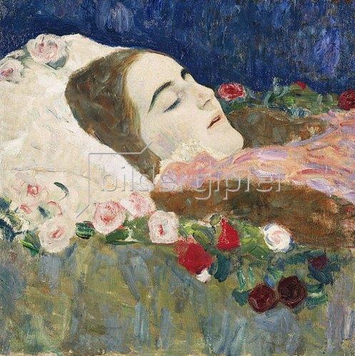 Gustav Klimt: Fräulein Ria Munk auf dem Totenbett. Um 1910