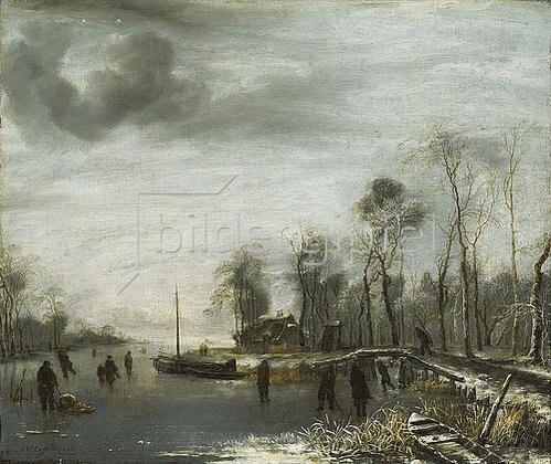 Jan van de Cappelle: Winterlandschaft mit Eisläufern. 1653