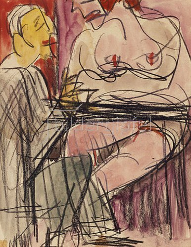 Ernst Ludwig Kirchner: Weiblicher Akt und Mann an einem Tisch sitzend.