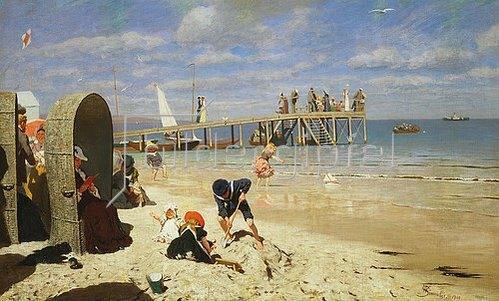Wilhelm Simmler: Sonniger Tag am Strand. 1900