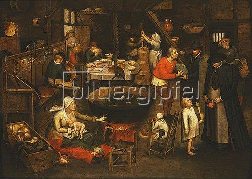 Pieter Brueghel d.J.: Besuch in einer Bauernstube.