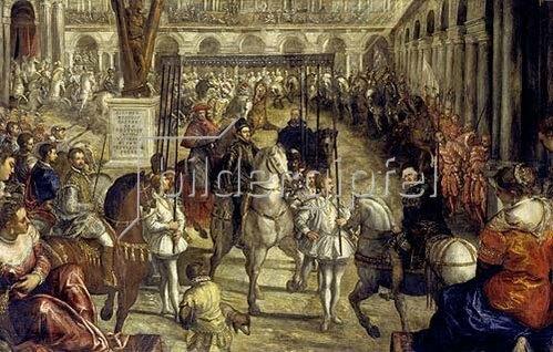 Domenico Tintoretto: Einzug Philipps II. in Mantua 1549. Aus der 2. Folge des Gonzaga-Zyklus'.