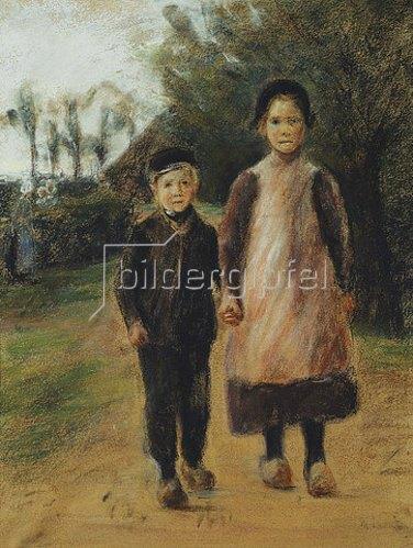Max Liebermann: Junge und Mädchen auf der Dorfstraße. Um 1897
