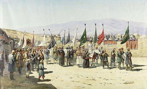 Richard Karlovich Zommer: Shakhsei-Vakhsei, eine muslimische Prozession.