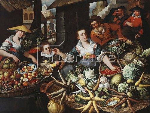 Jean Baptiste de Saive: Obst-und Gemüsestand auf einem Markt.