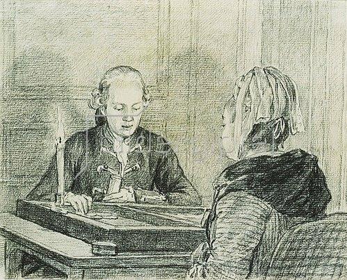 Charles Nicolas Cochin der Jüngere: Paar beim Backgammon-Spiel.
