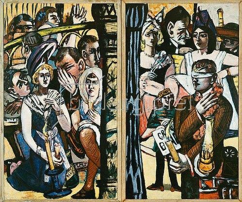 Max Beckmann: Blinde Kuh. Linke und rechte Tafel des Triptychons. 1945
