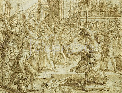 Maerten van Heemskerck: Die Steinigung der Alten. 1562
