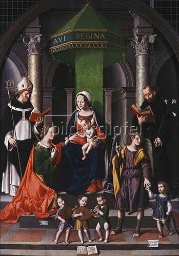 Marco Palmezzano: Die mystische Hochzeit der heiligen Katharina begleitet von den Erzengeln Raphael und Tobias.