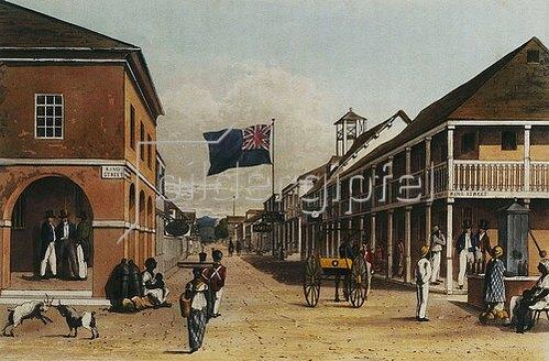 James Hakewill: Ansicht einer jamaikanischen Stadt (nach einer Zeichnung von 1820-21).