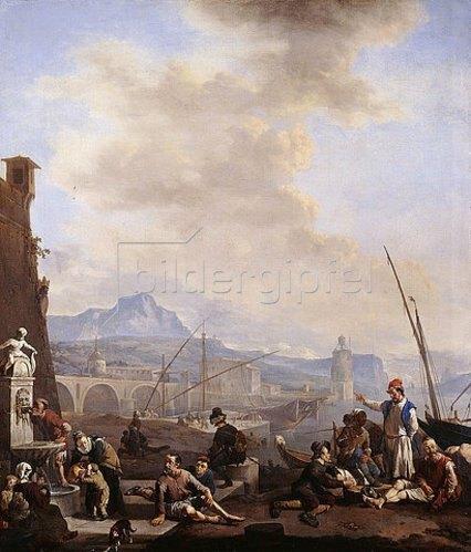 Johannes Lingelbach: Eine Hafenstadt am Mittelmeer mit Sklaven einer Galeere, Händlern und Hafenarbeitern im Vordergrund.