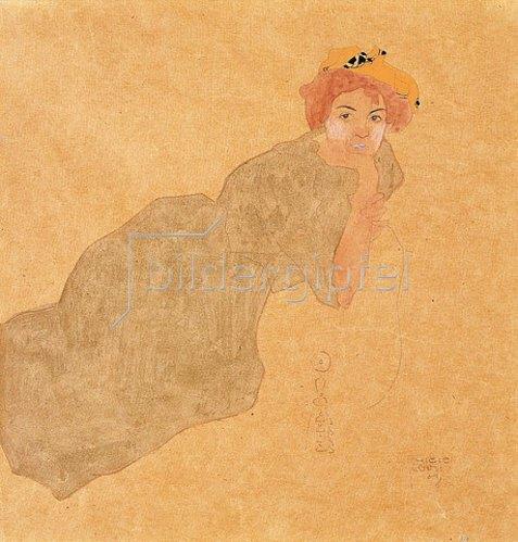 Egon Schiele: Frau in olivefarbenem Kleid mit aufgestützem Arm. 1908