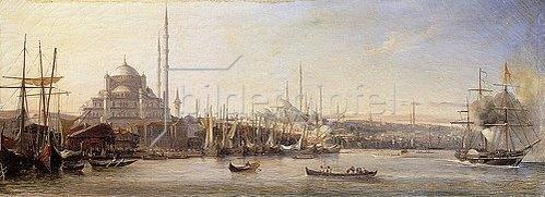 Antoine Léon Morel-Fatio: Das Goldene Horn mit der Süleymaniye-Moschee und der Fatih-Moschee, Konstantinopel.