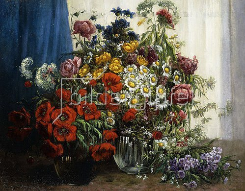Konstantin Stoitzner: Mohnblumen, Chrysanthemen, Pfingstrosen und andere Wiesenblumen Glasvasen.