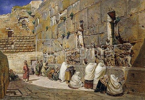 Carl Friedrich Heinrich Werner: Die Klagemauer in Jerusalem. 1863