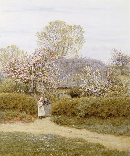 Helen Allingham: In School Green, Isle of Wight. Wohl frühe 1890er Jahre