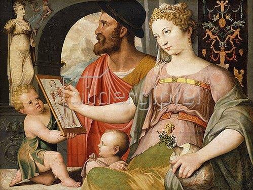 Marten de Vos I.: Allegorie der Malerei: Pictura fertigt eine Zeichnung nach der Antike an.