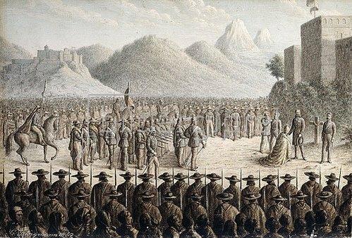 Gottlob Jungmann: Die Erschießung von Kaiser Maximilian. 1867 (Ferdinand Maximilian, Erzherzog von Österreich wurde  von 1864 bis 1867 auf Betreiben Kaiser Napoleons III. als Kaiser von Mexiko inthronisiert und 1867 dort erschossen.)