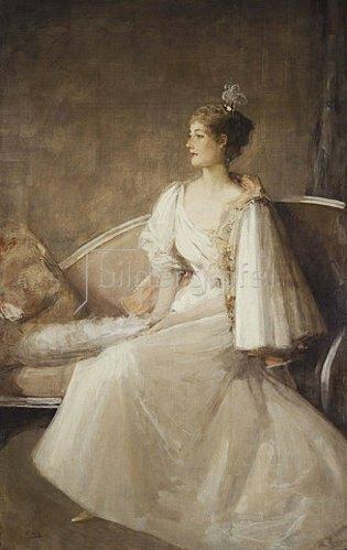Sir John Lavery: Portrait einer Dame auf einem Sofa. Um 1900