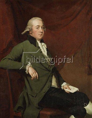 Joseph Wright of Derby: Dreiviertelportrait von Edward Abney, einen Bref halten. Wohl späte 1780er Jahre