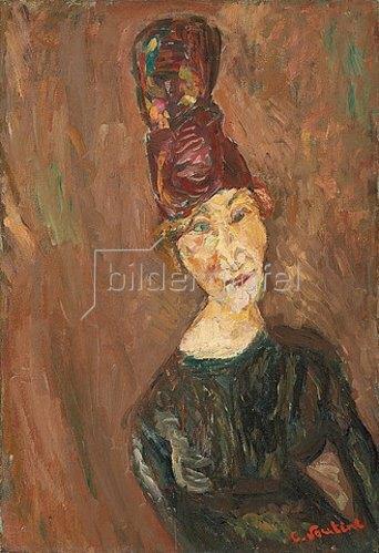 Chaim Soutine: Frau mit großem Hut (La femme au grand chapeau). Um 1919