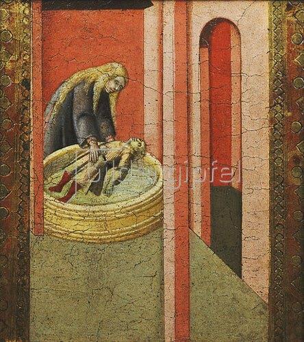 Pietro Lorenzetti: Die heilige Elisabeth von Ungarn rettet ein Kind aus einem Brunnen.