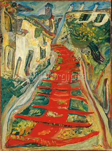 Chaim Soutine: Die Rote Treppe in Cagnes (L'escalier rouge à Cagnes). Um 1923-24