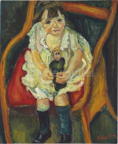 Chaim Soutine: Kleines Mädchen mit Puppe (La petite fille à la poupée). Um 1925