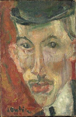 Chaim Soutine: Gesicht eines Mannes mit Hut (Visage d'homme au chapeau). 1914