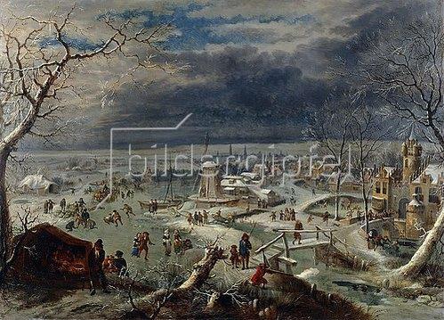 Jan Griffier d. Ä.: Winterlandschaft mit Schlittschuhläufern, Antwerpen im Hintergrund.