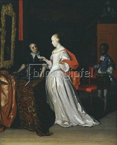 Eglon Hendrik van der Neer: Eine Dame mit Brief wird bedient von einem Pagen, während eine Magd ein Silberkrug und ein Becken auf einen Tisch stellt.