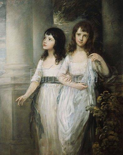 Thomas Gainsborough: Doppelbildnis der Schwestern Sloper, beide in einem weißen Kleid mit blauer Schärpe.