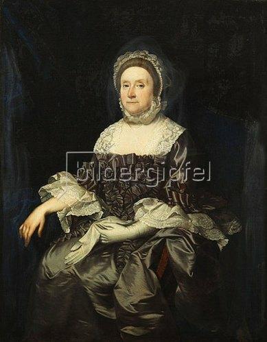 Englisch: Portrait von Deborah Worsley of Platt in einem violetten Kleid mit weißer Spitze, einen Handschuh haltend. Um 1760