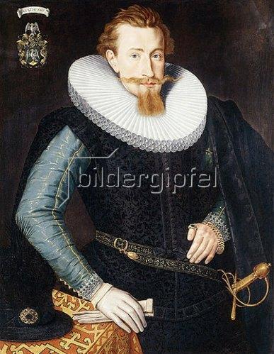 Gotthardt (Godert) de Wedig: Dreiviertelportrait eines fünfundzwanzigjährigen Mannes in einem schwarzen Wams und einer weißen Halskrause.