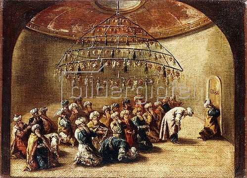 Giovanni Antonio Guardi: Türkische Betende in einer Moschee.