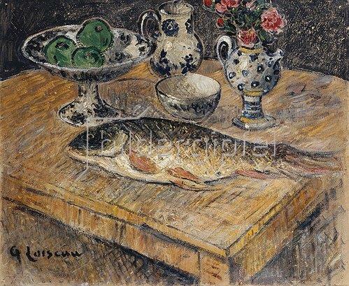 Gustave Loiseau: Stillleben mit Fisch, Blumenvase und Obstschale.