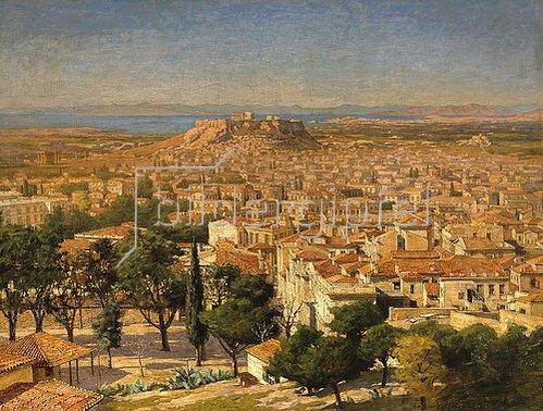 Griechisch: Blick auf Athen mit der Akropolis.