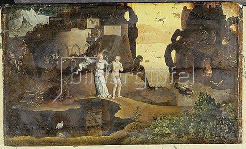 Hieronymus 1453-1516 Bosch: Ein Engel mit einer Seel am Rand der Hölle.